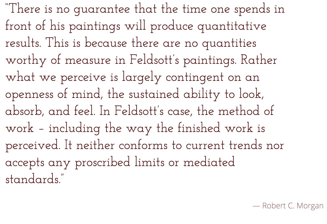 """Feldsott's Threshold"" by Robert C. Morgan"