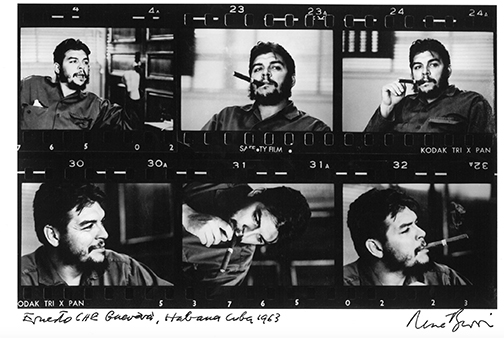 The contact sheet of René Burri's shoot with Che Guevara reveals additional slices of time surrounding the iconic, enduring portrait of Guevara with the cigar. Having the additional frames contextualizes the moment differently as subject/photographer relationship is better understood. It becomes clear that Guevara was not only aware of the photographer but was to some extent performing for the camera. The photographer was not a fly on the wall; the photographer is never a fly on the wall.