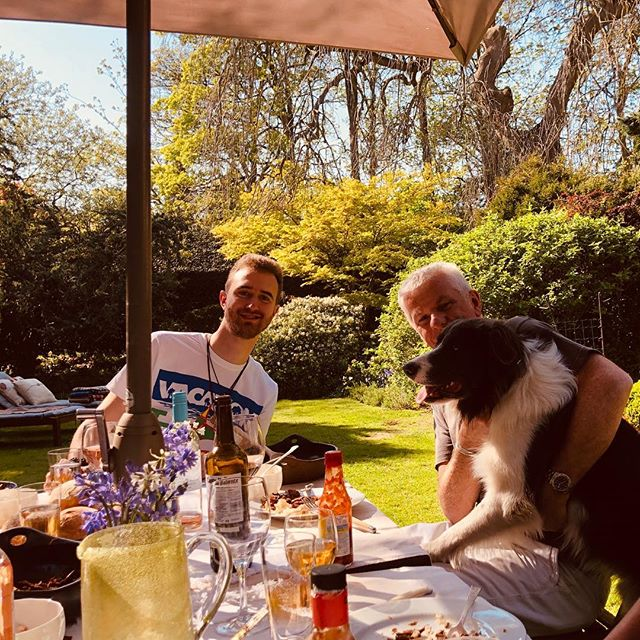Happy days in the garden with the family and Orson#bordercollie and JP Barry, his dad would be so very proud of him#johnbarry