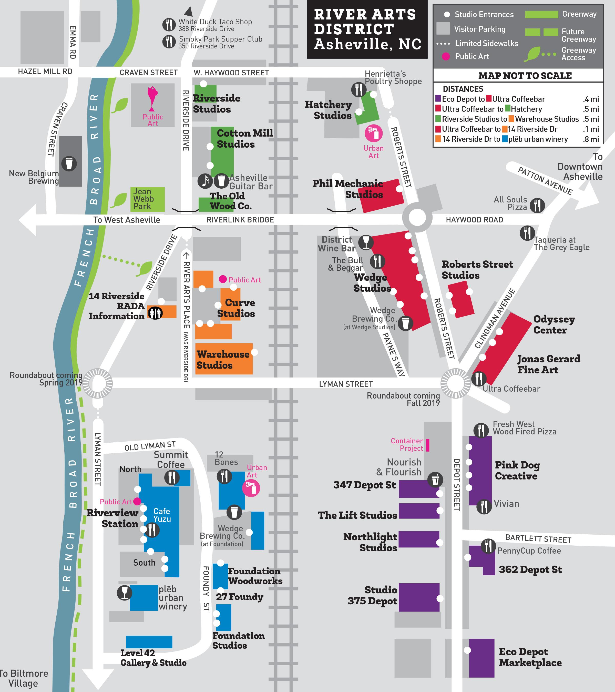 River Arts District Asheville Studio Map