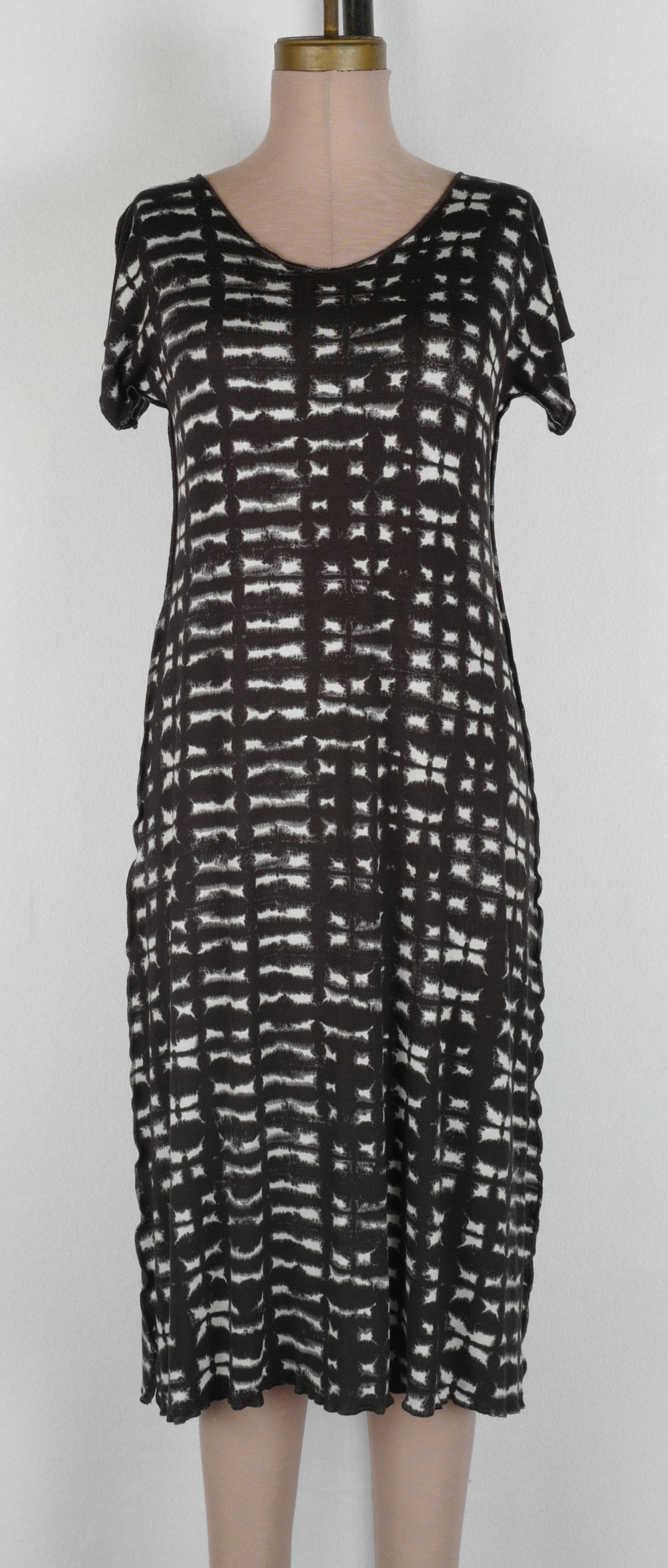 Black Grey Mudcloth Rayon Cap T Dress 40 inch 2019 cropped.jpg
