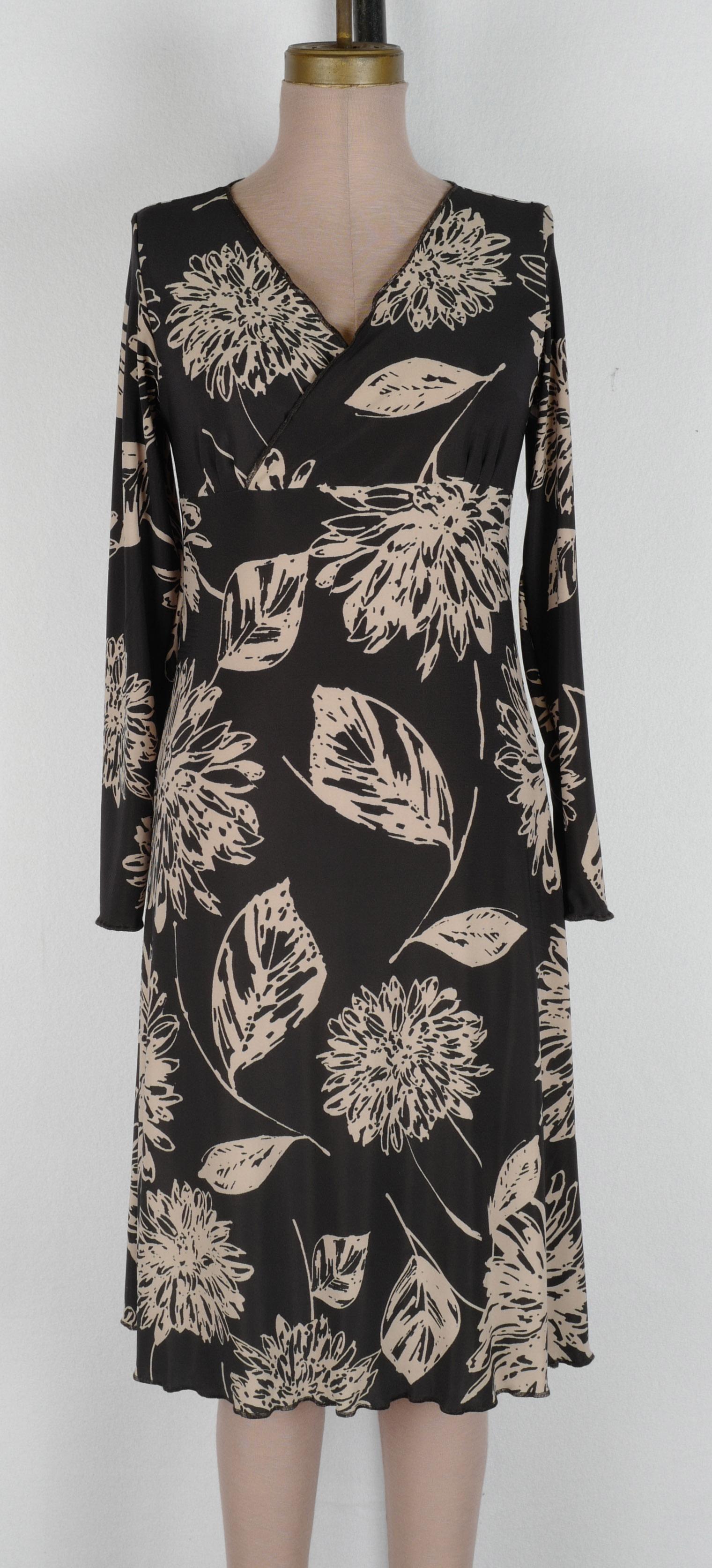 Black Tan Big Crysanthemum Wrap Dress 2019 cropped.jpg