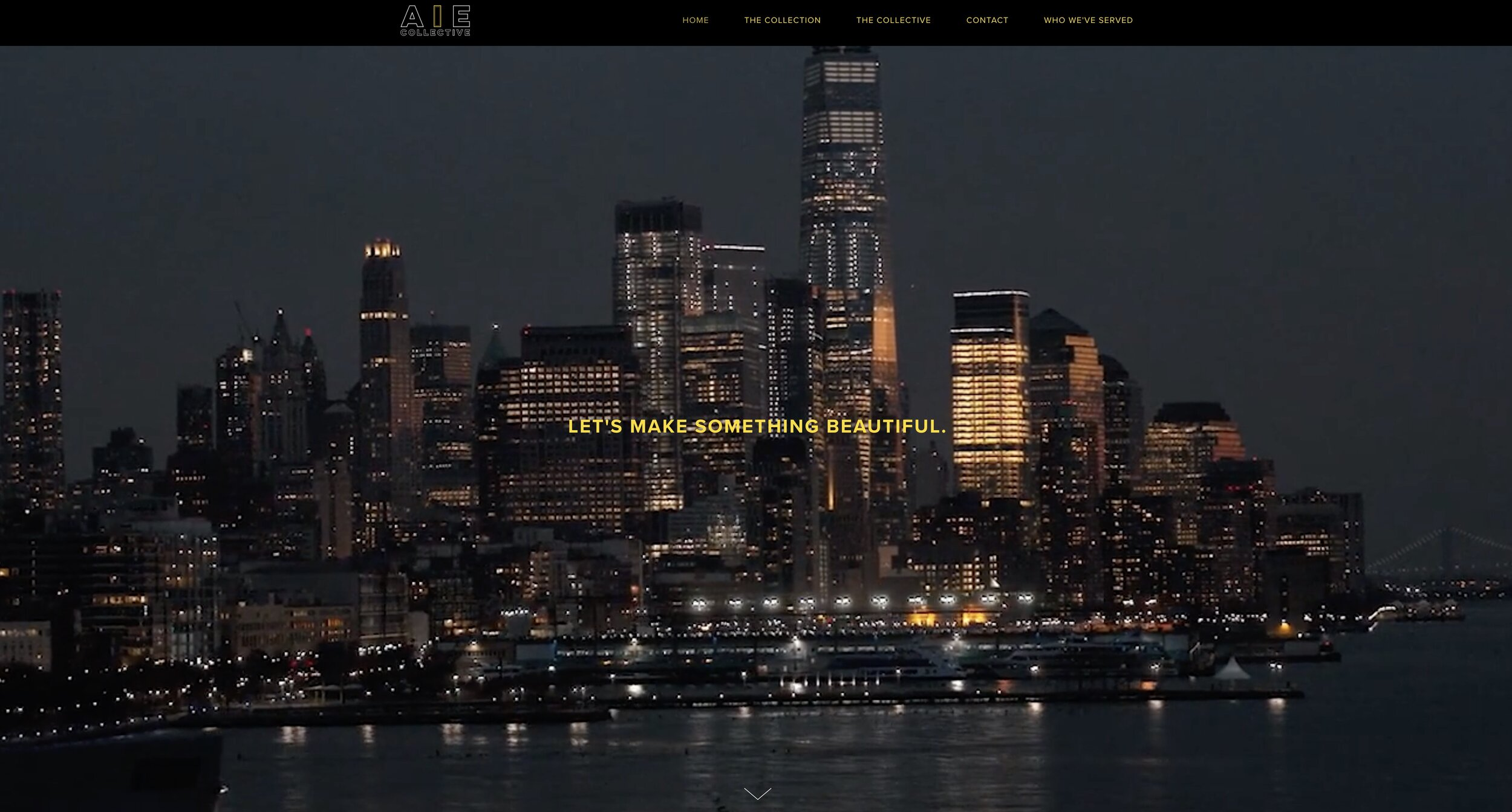The photo features New York City and the cinematography by AIE collective. This is a screenshot of the intro video on the AIE website designed by ServeCreate Squarespace Web Design House