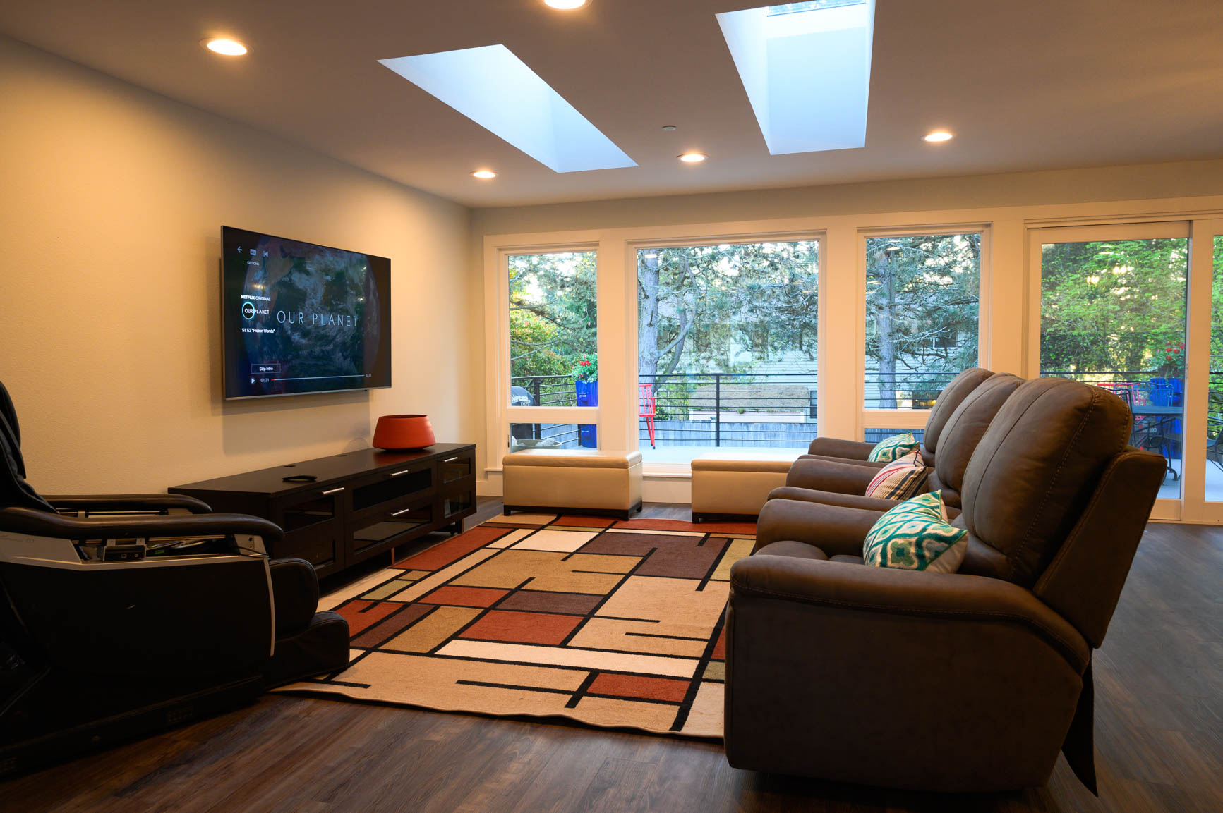 Living area with large skylights