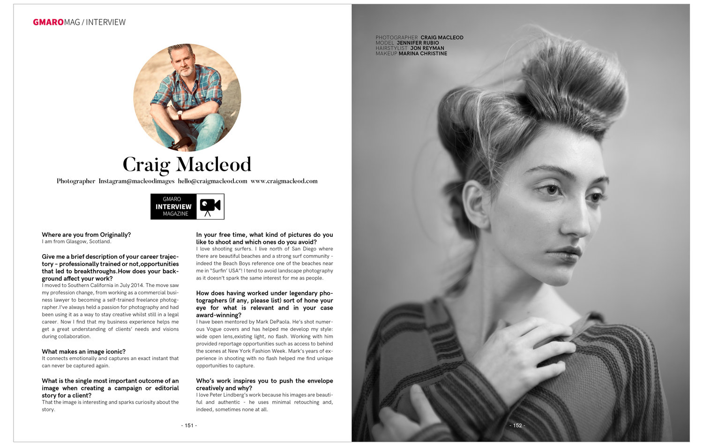 Interview & Craig Macleod — Gmaro Magazine   Fashion   Beauty   Art