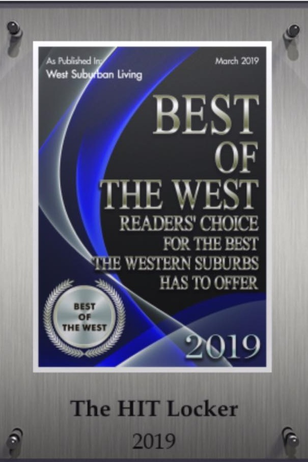 """Best of the West 2019 - ELLIPTIHIT (formerly The HIT Locker) is proud to be voted """"Best of the West"""" fitness facility by West Suburban Living Magazine."""