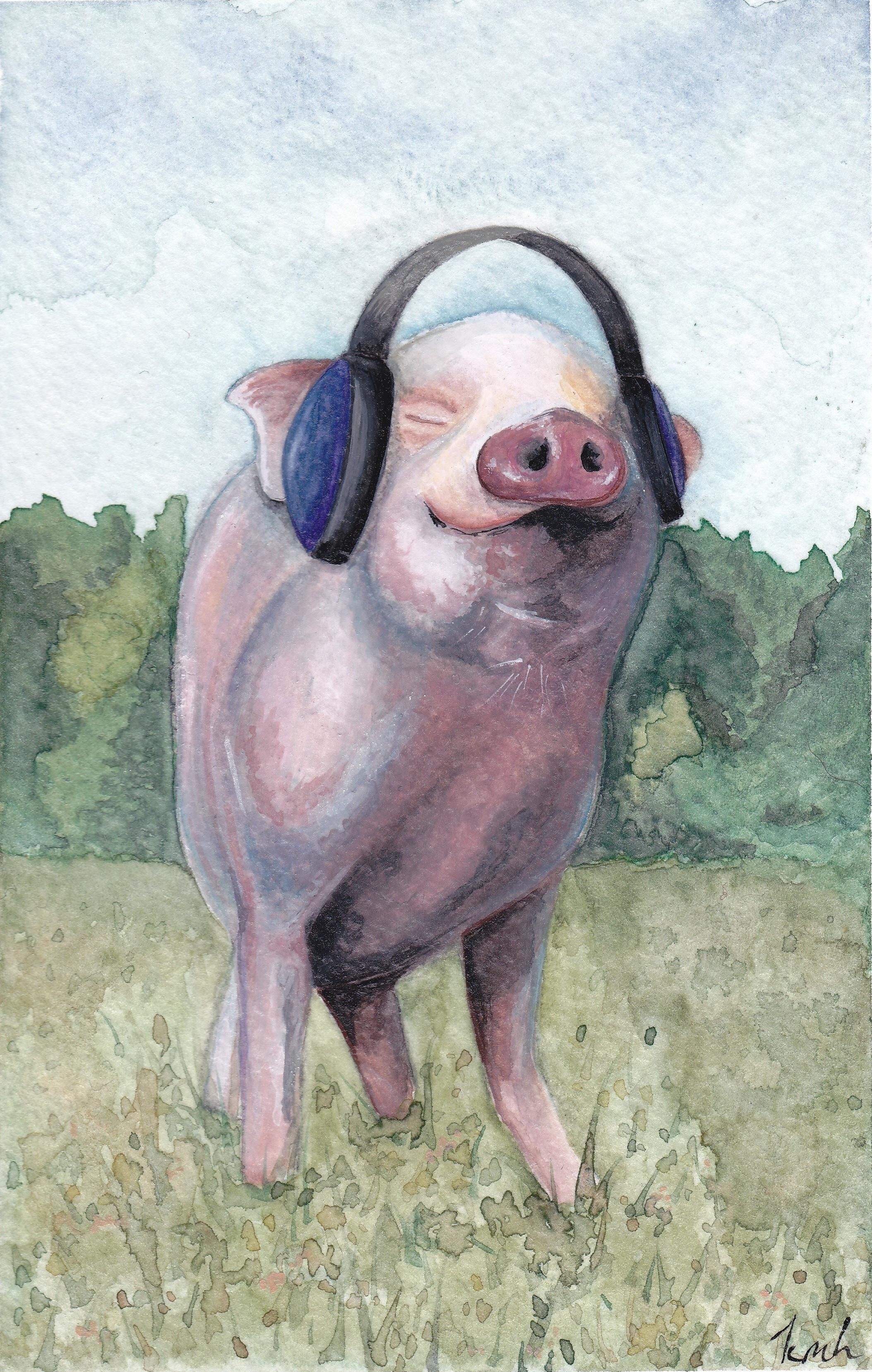 "Jam, Not Ham - gouache on paper, 4"" x 6""2018"