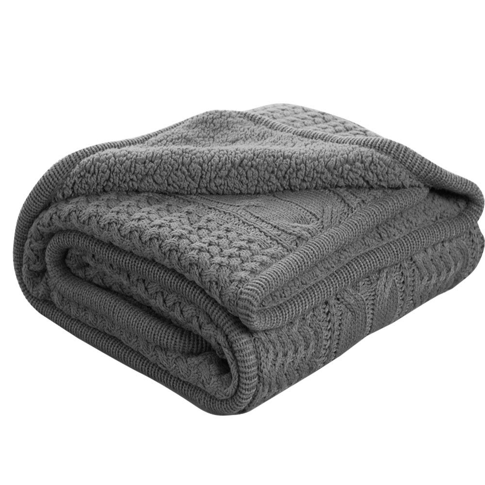 Bedsure Knitted Sherpa Throw Blanket Grey Knit-Sherpa 50x60 Rustic Home Decor Bedding Blanket -