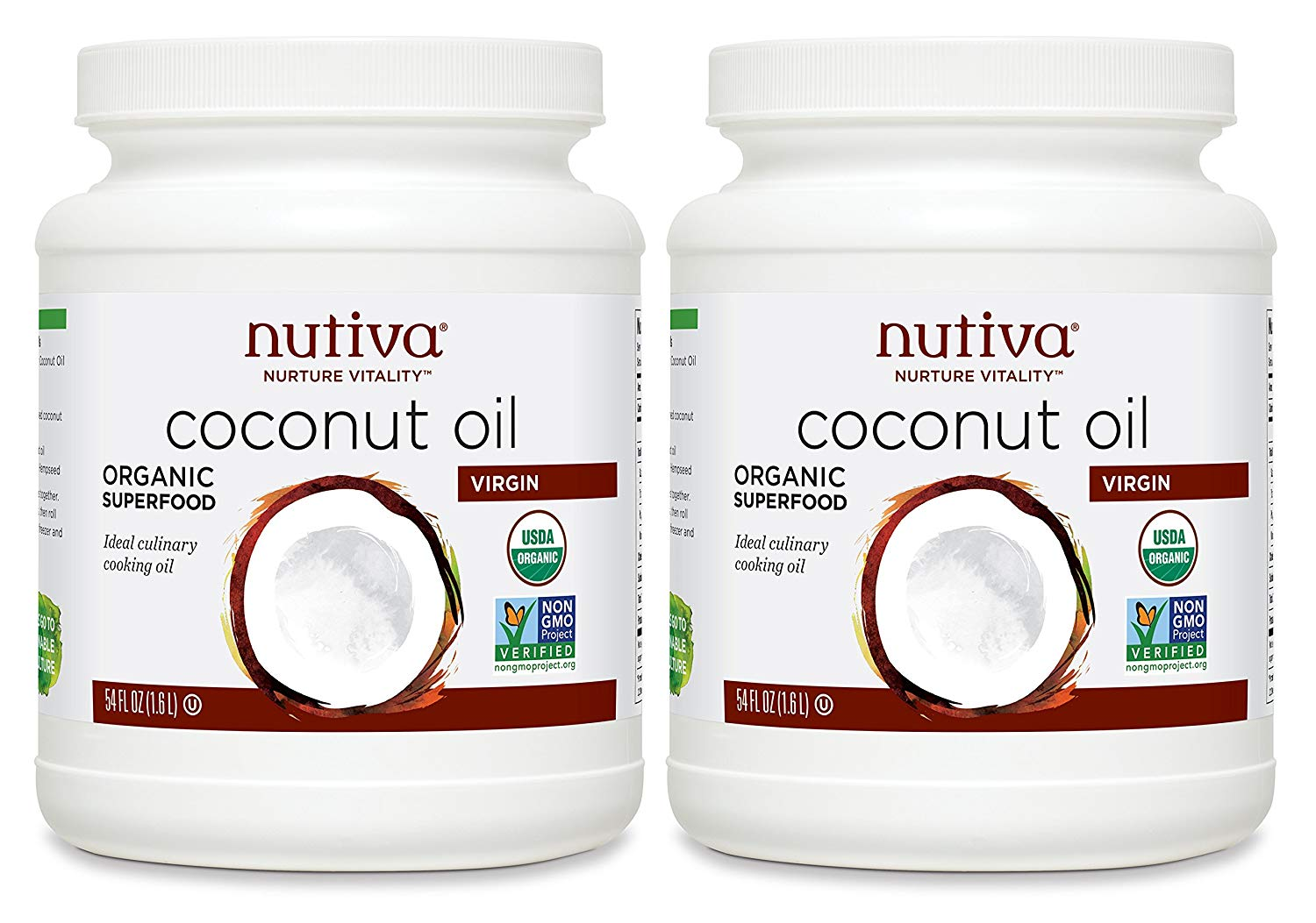 Nutiva Organic, Cold-Pressed, Unrefined, Virgin Coconut Oil from Fresh, 54-ounce (Pack of 2) -