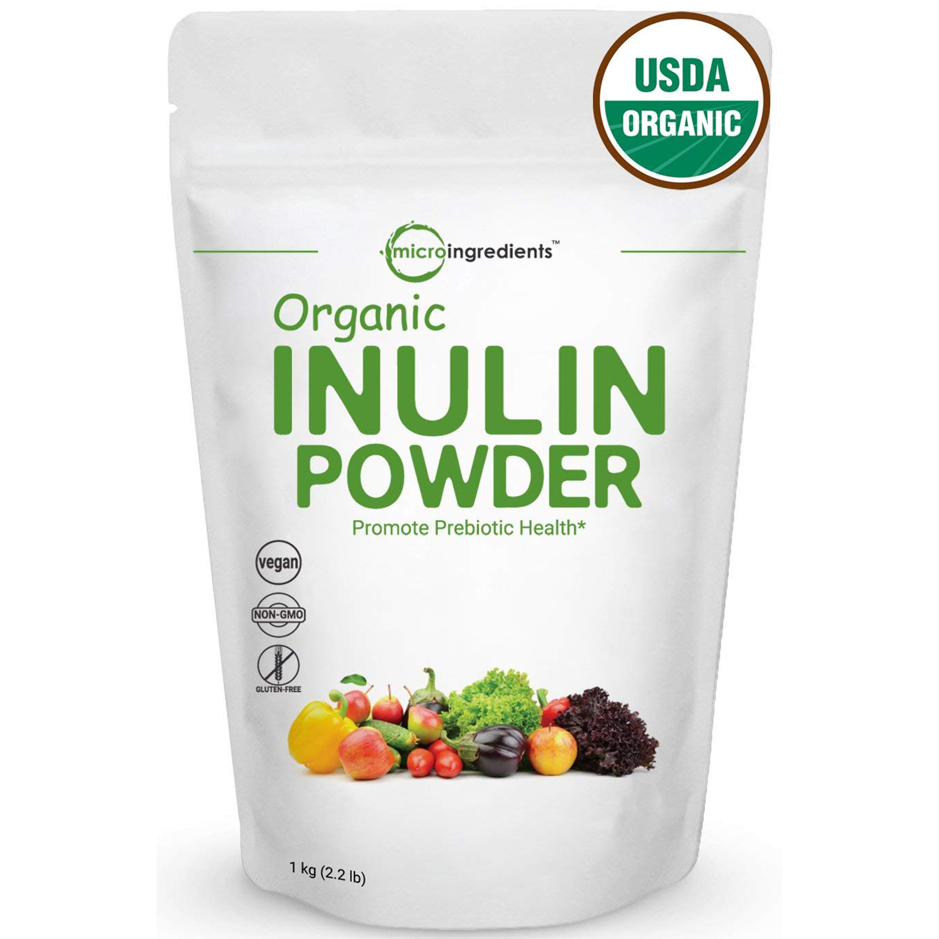 Organic Inulin FOS Powder Prebiotic Intestinal Support, Colon & Gut Health -