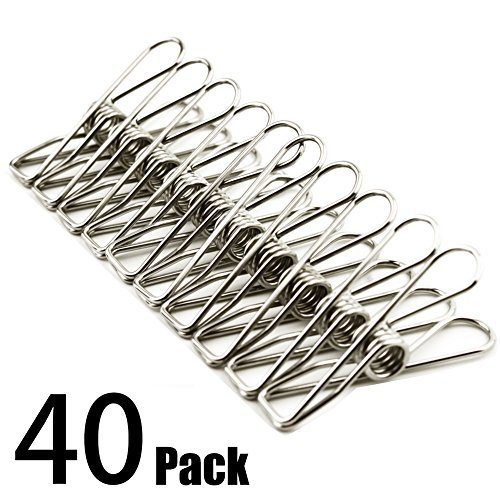 Clothes pins 40 PACK,2 Inch Multi-purpose Stainless Steel Wire,Cord Clothes Pins Utility Clips,Hooks for Home/Office -