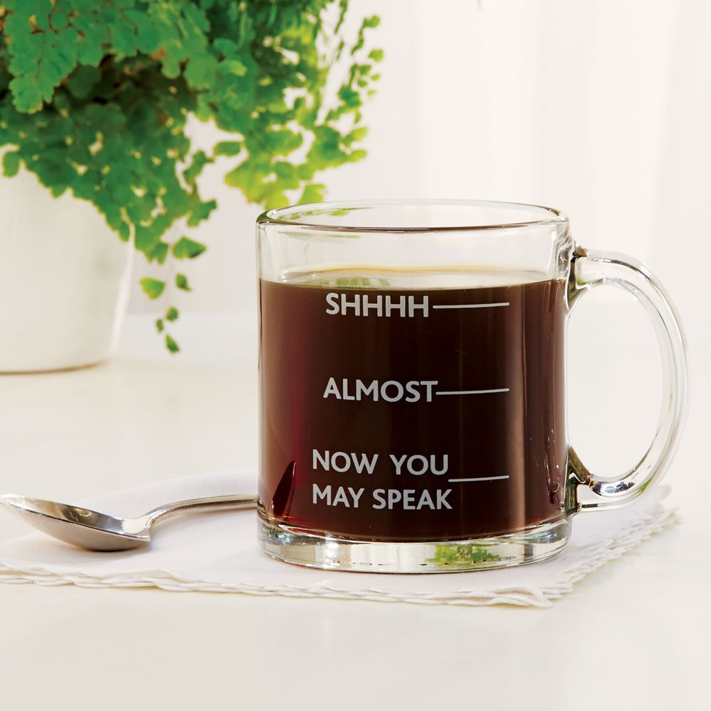 SIGNALS Shhh, Almost, Now You May Speak - Funny Glass Coffee Mug -