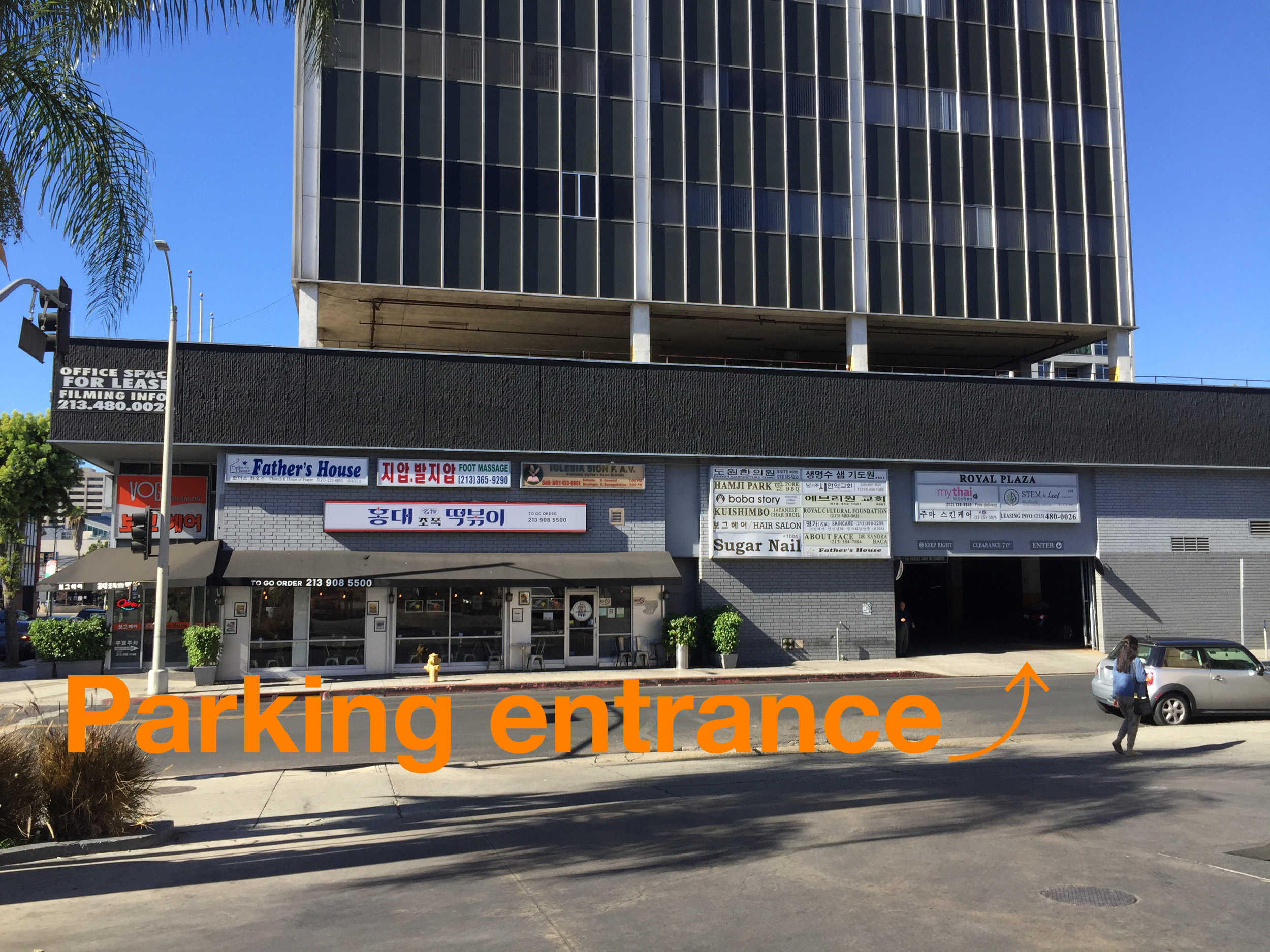 Our Location - Our facility is conveniently located in Koreatown Los Angeles. The entrance to the parking lot is on Catalina St. right across the Cheveron Gas Station. One hour parking is free.