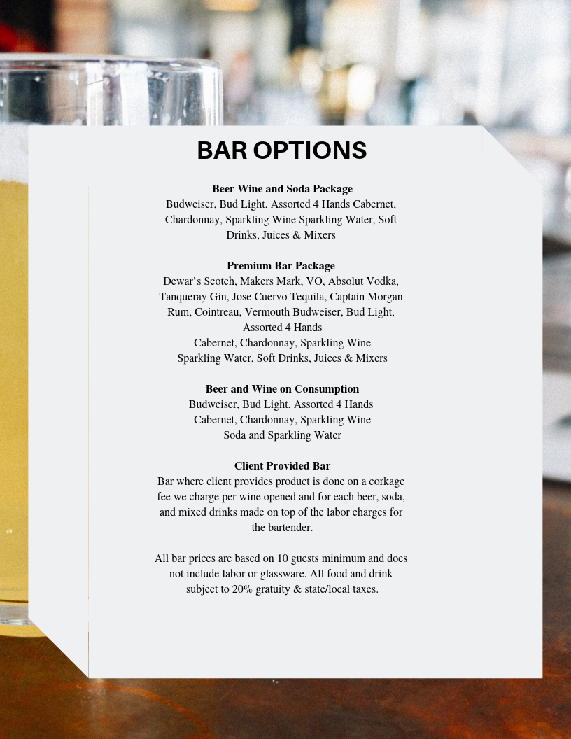 Bistro St. Louis Additional Bar Services - Add a bar option to your party to keep your to do list worry free. Special requests? Just ask!