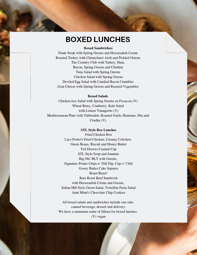 - Boxed LUnchesNobody can box up a party like we can! Let Bistro St. Louis deliver to your next corporate or office luncheon, board room presentation or picnic delivered on site to the place you will be eating. Ask about our custom box lunch options.