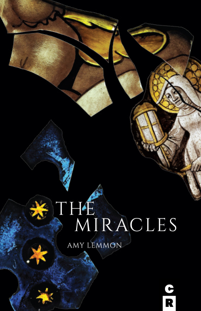Cover of   The Miracles by Amy Lemmon. Dark background with design showing fragments from stained glass windows.