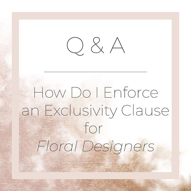 """Today's post comes courtesy of a great question from @TWfloraltruck on behalf of floral designers. Thanks Kaylia!⠀ ⠀ How do you deal with exclusivity and clients who sneak in floral arrangements on the wedding day? Usually it's a a few votives, but sometimes it's the alter arrangement or bm bouquets. ⠀ ⠀ Outside of charging clients a penalty for this minor breach, the best way to make sure clients comply is by being very upfront about these issues before they book and during the communication process. The clients are total novices at planning weddings and they usually don't have a good idea of the etiquette. They are always looking for ways to cut costs on things that aren't must haves, and more likely than not, clients aren't trying to be hostile when they sub in flowers from grandma. ⠀ ⠀ I recommend reminding them about the clause during the revision process if they are cutting things that they originally ordered, or not ordering things that definitely get ordered for wedding (bouts and bouqs). Ask them upfront why they are omitting these items and use it as an opportunity to remind them that you are the exclusive floral provider. ⠀ ⠀ If you're ok with letting them do some DIY, add a phrase to the contract that says something like """"we understand that not all clients have the budget for full service design, and we are happy to allow for minor exceptions so long as the outside flowers are DIY by a guest of the wedding (no other pro flowers) and the arrangements are no larger than what can fit in a 12 oz mason jar. However, key floral design arrangements (bouts and bouqs) are strictly prohibited from outside sources."""" ⠀ ⠀ See my stories today for more tips on this and for photographers!⠀ .⠀ .⠀ .⠀ .⠀ .⠀ #QandA #contracttips #womenownedbusiness #creativepreneur #mycreativecommunity #girlboss #bossbabelife #momboss #fempreneur #curatedlife #legalmindforcreativeminds #floraldesignbiz #cafloraldesigner #createcultivate #contentcreator#wearethecreativecommunity #communityo"""