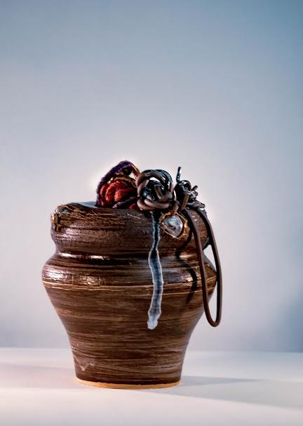 Vessels For My Hair: Raw Series - Ceramics, Glass, and Hair Extensions