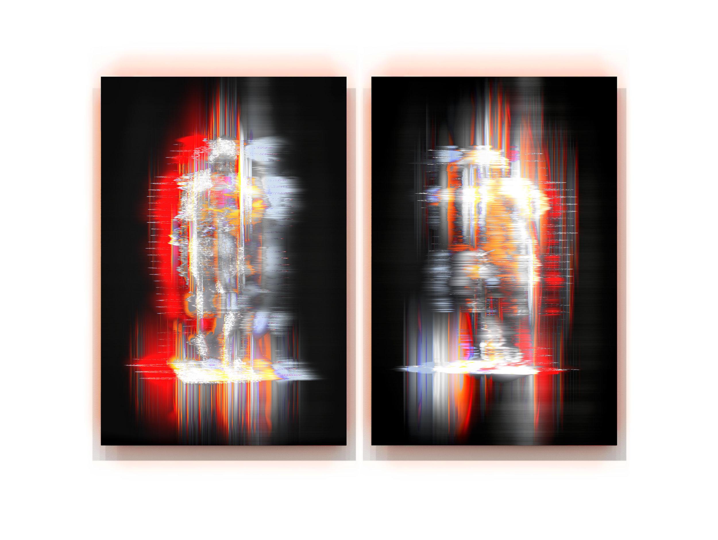 Variations  2018, pigment and enamel on aluminium, 150 x 210cm, diptych