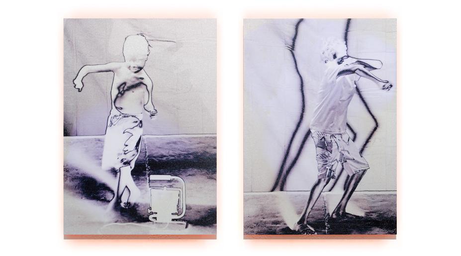 Shadows Boys   2012, pigment, enamel on aluminium, 42cm x 65cm, private collection