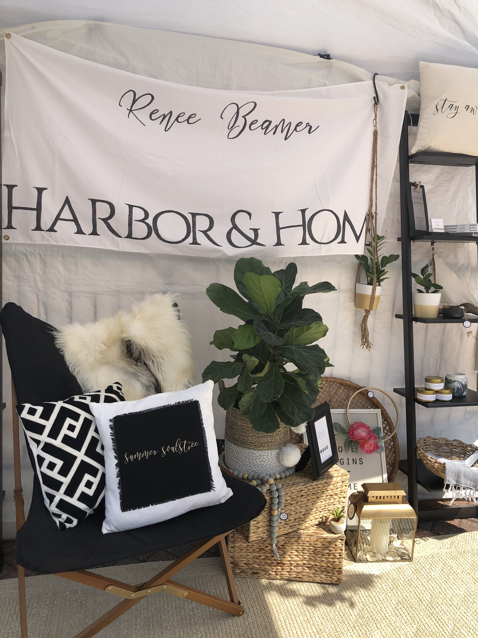 Renee Beamer Harbor & Home sign lets shoppers know what kind of items they can expect to find here.