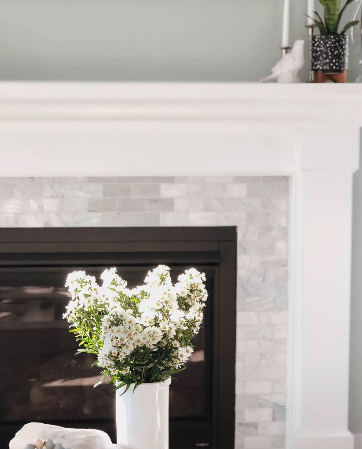 A little plant on the mantle adds a homey feel to the design.