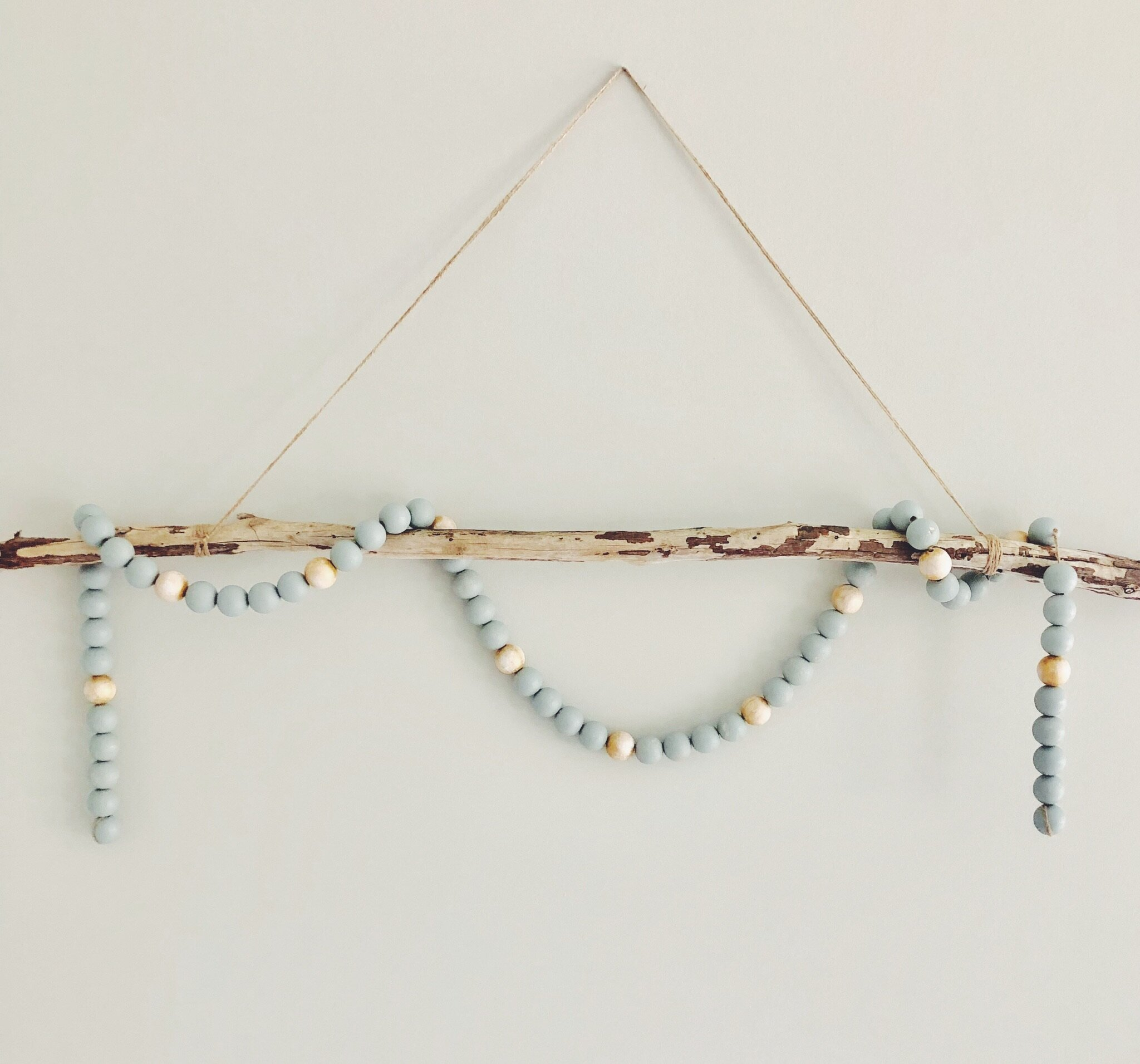 Hand-Painted Wood Bead Garland Wall Hanging