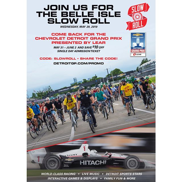 Tomorrow is one of the best rides of the year! Meet in Cadillac Square // Ride leaves early: meet 5:30pm ride 6:30pm. Get your discounted Grand Prix tickets at DetroitGP.com/PROMO use the code: SLOWROLL Stay tuned for weather updates. #detroitgp2019 #slowrolldet #detroit #bikes #fastcars #slowbikes  SlowRoll.bike for full schedule and memberships.