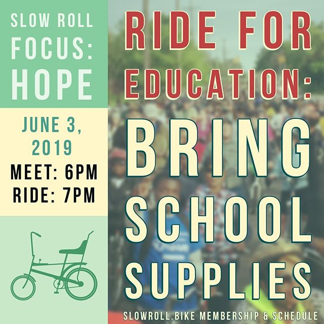 Join us at Focus: HOPE tonight and Ride for Education! Bring school supplies for donation! Meet at 6pm and ride at 7pm.