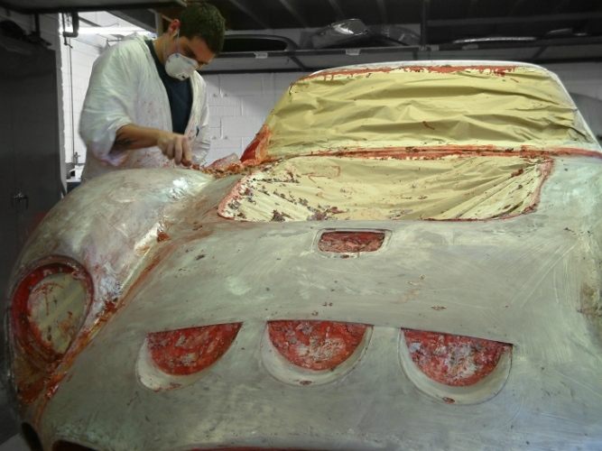 Ferrari 250 GTO having is paint carefully removed by hand at the very beginning of its restoration.