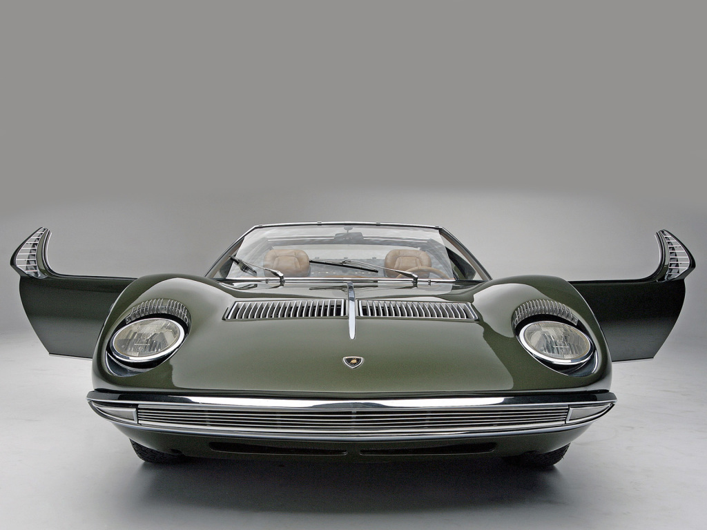 The Iconic Lamborghini Miura Roadster in its unique 'Zn75' specification which was renovated by Moto Technique in the early 1980's. Sadly (in our opinion) this car was returned to its original 1968 Bruxelles Motor Show specification in 2008.