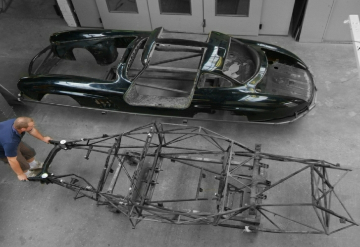 "Mercedes 300SL Gullwing complete ""Body off"" restoration revealing the tubular chassis."