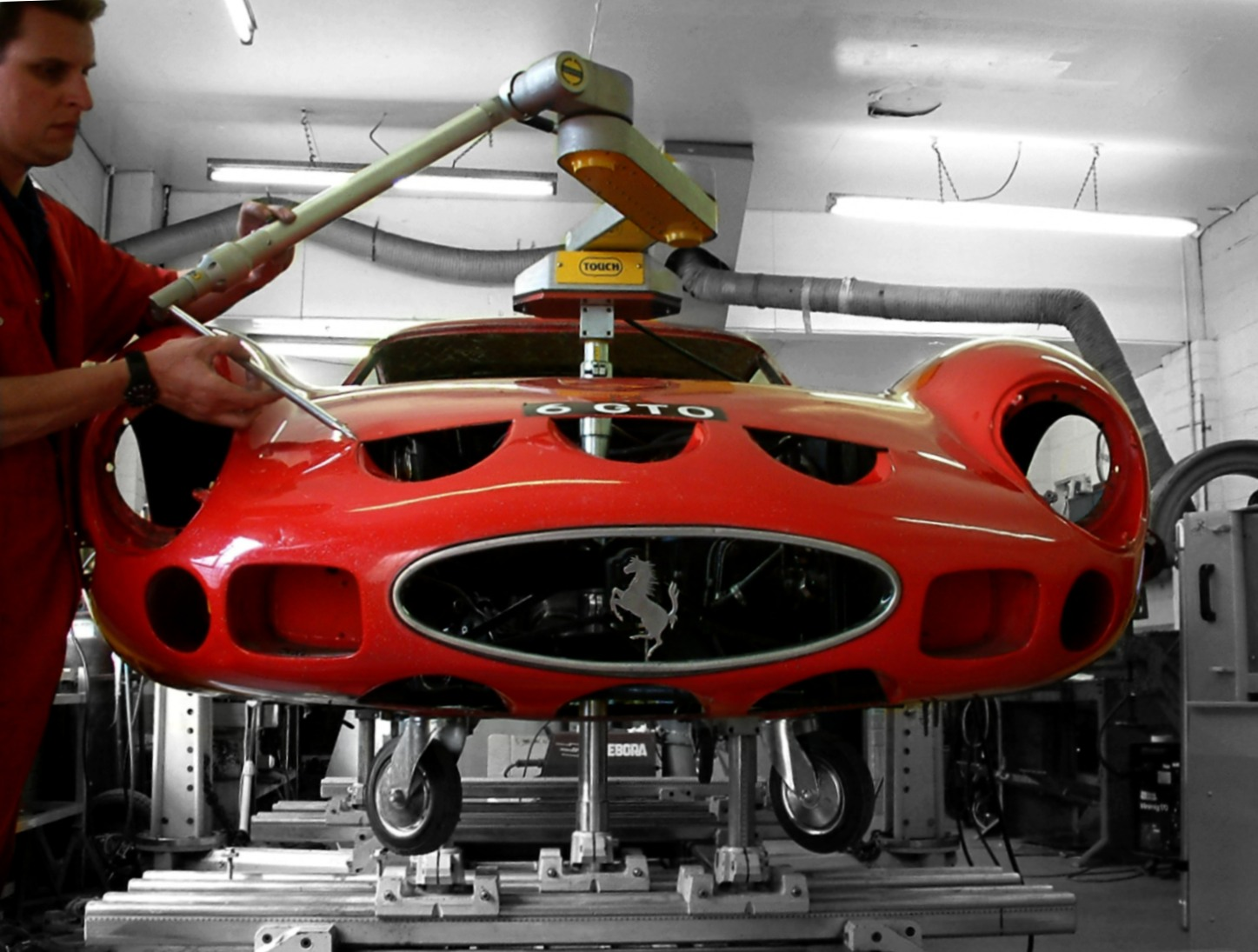 Ferrari 250 GTO being checked before commencement of a total restoration. This car arrived and left in perfect alignment.