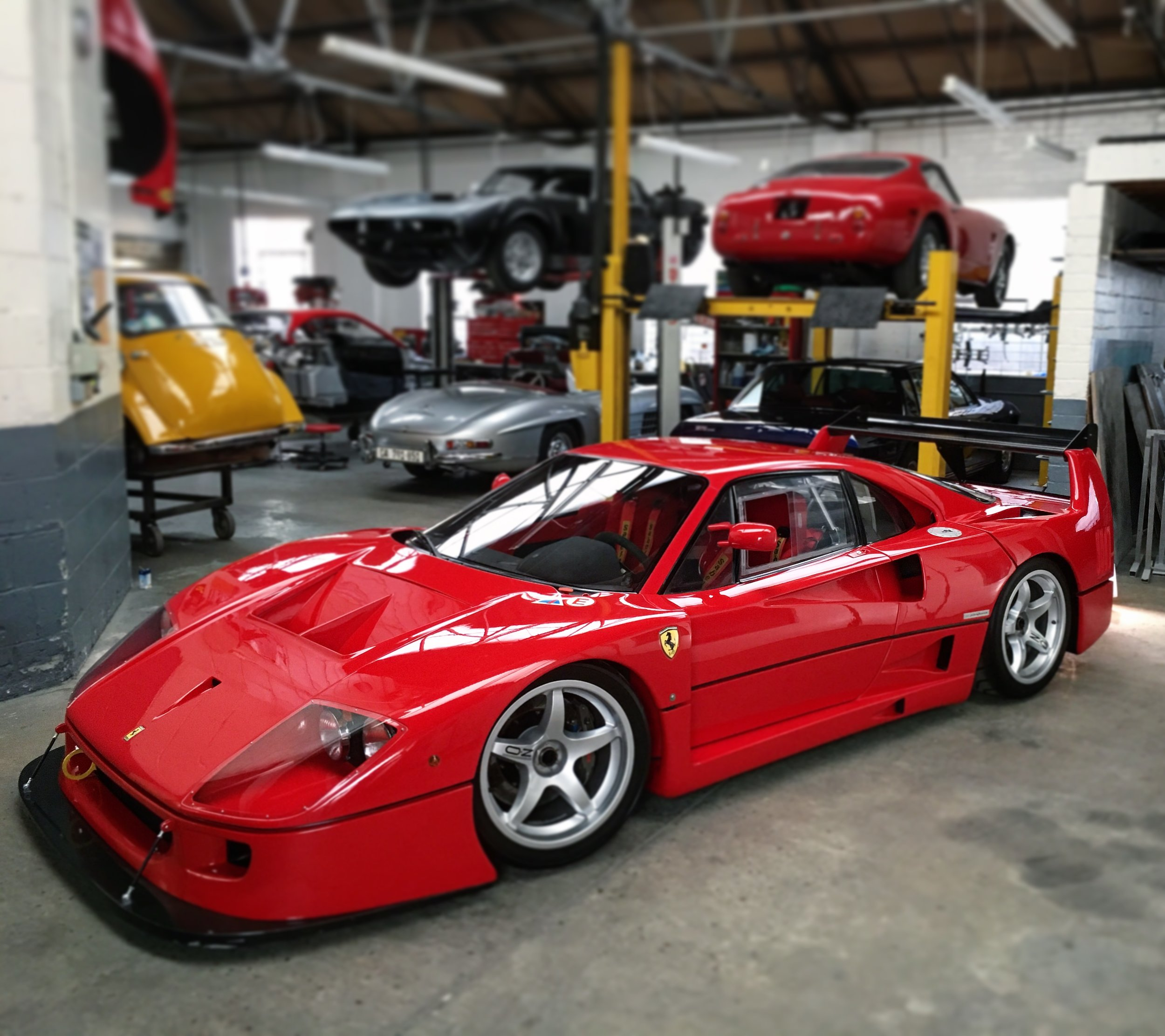A Ferrari F40LM / GTE Freshly restored and with the perfect amount of spray paint that shows off just the right amount of carbon weave in the bodywork