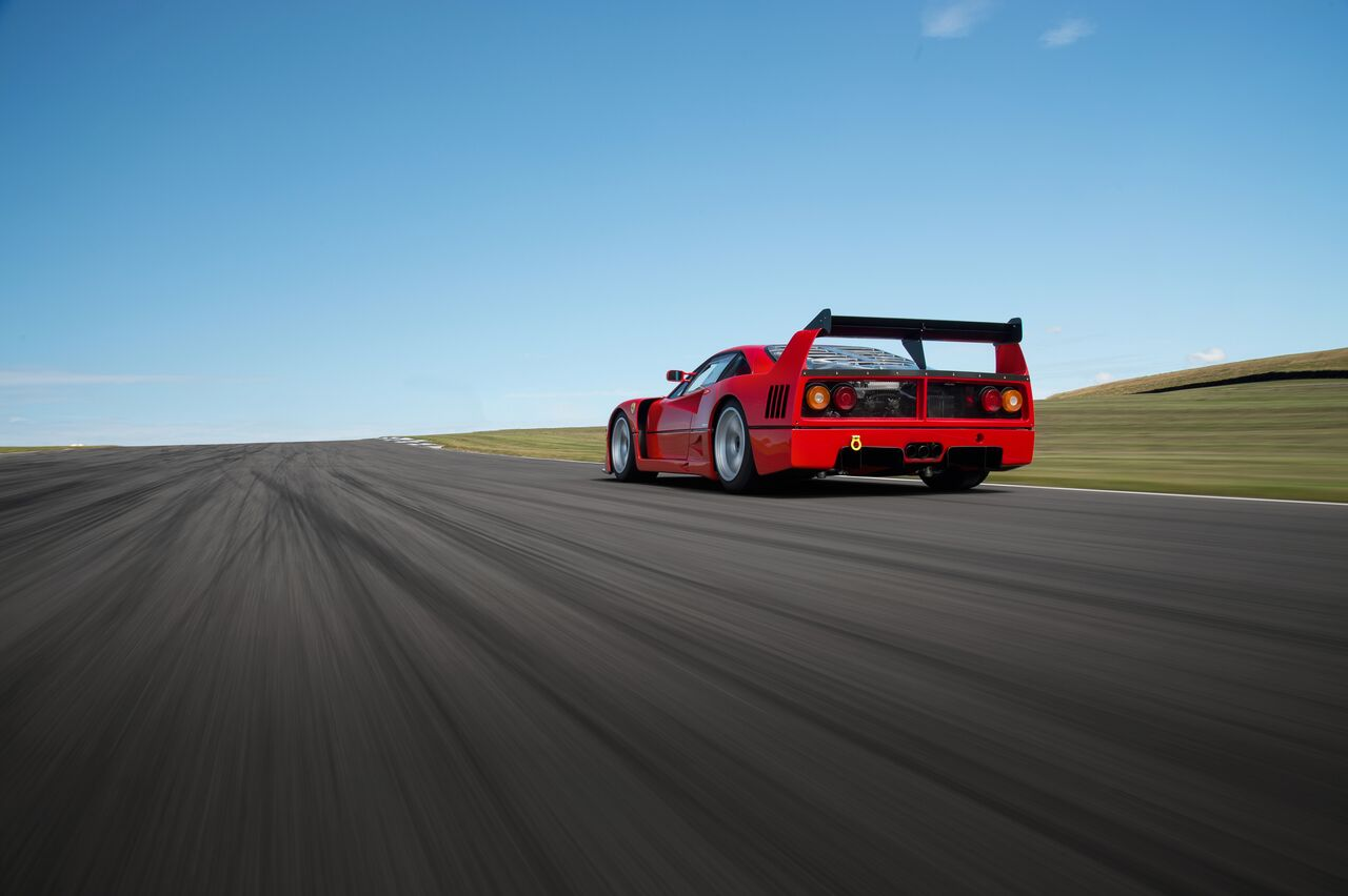 Ferrari F40LM GTE on a shake down and handling set up by Moto Technique Engineering at Angelsey Race Circuit after a complete ground up restoration with an engine rebuild and upgrade