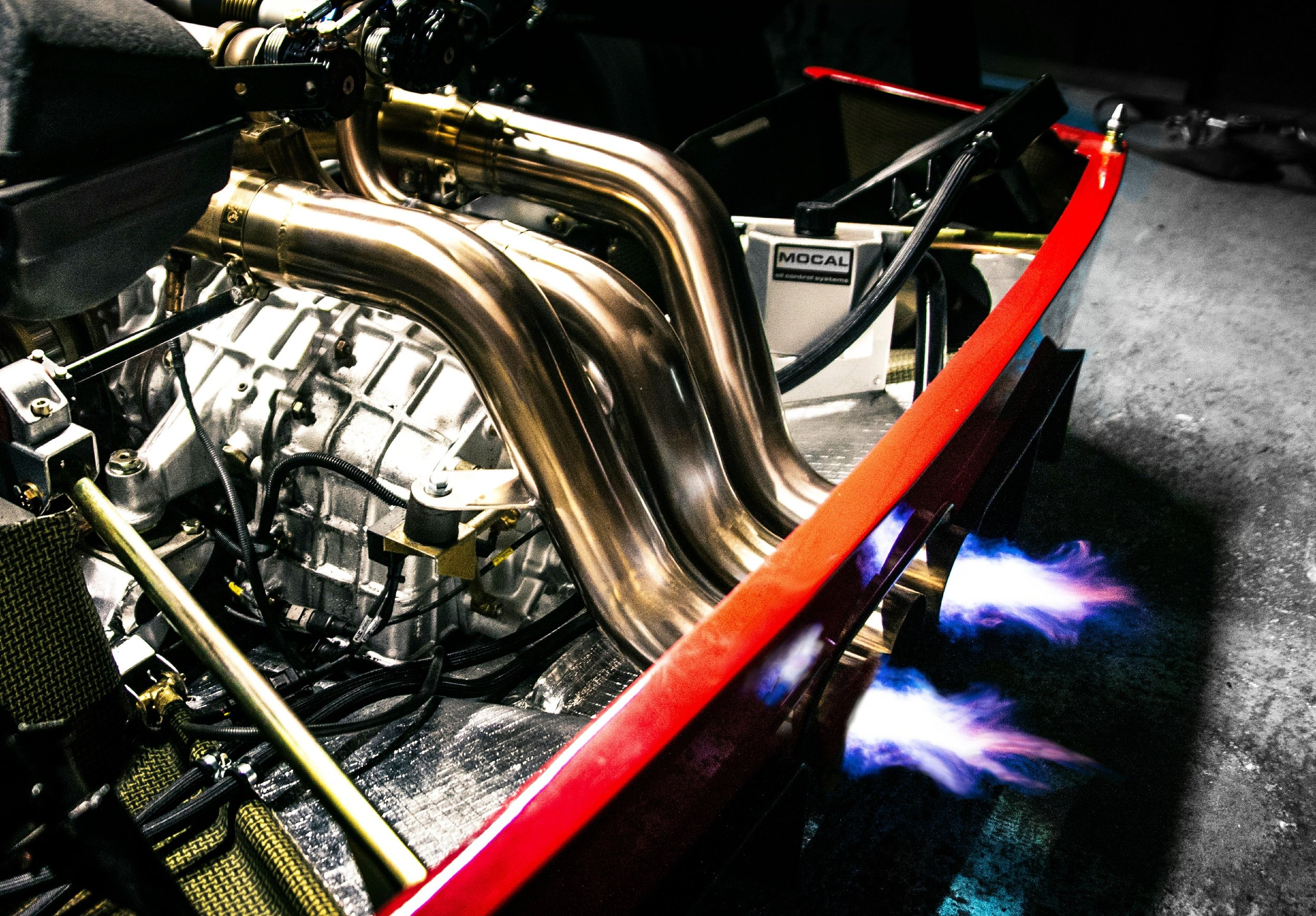 Fire breathing exhausts of the 720bhp Ferrari Twin Turbo Engine.