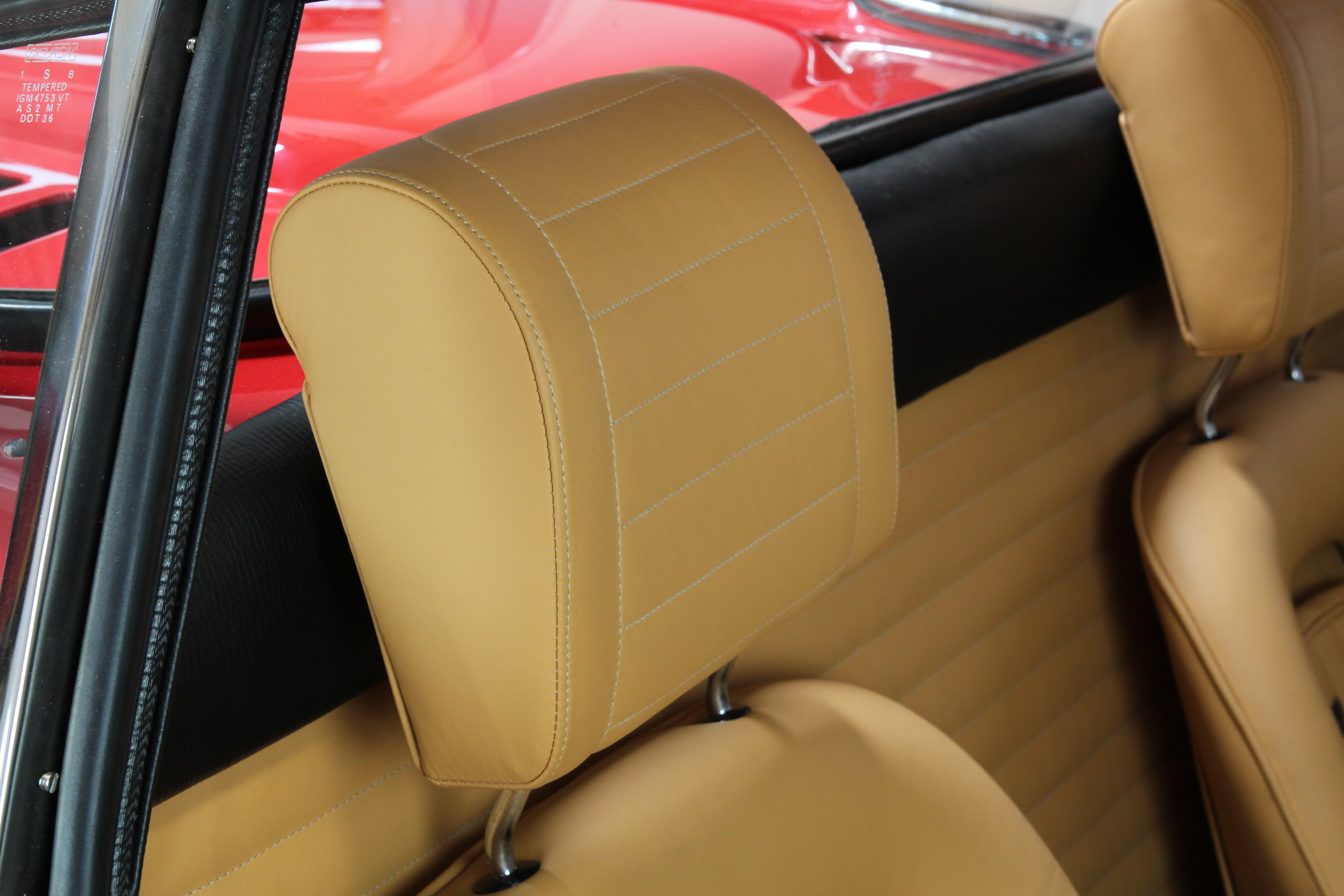 Dino 246 GT Headrest re-trimmed to absolute original specification.  Photo by   O'ROURKE COACHTIMMERS
