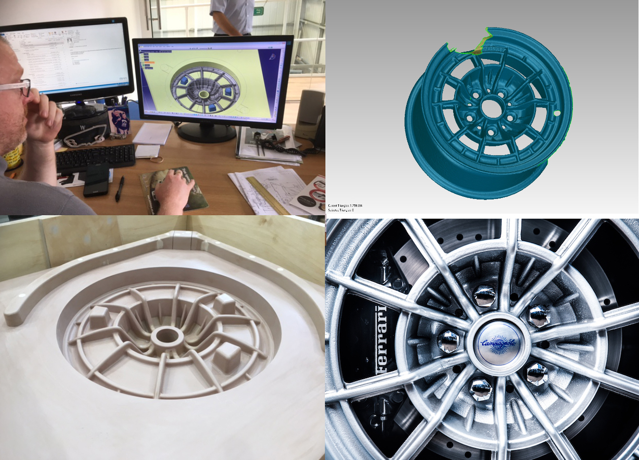 Using the latest technology to laser scan an original Campagnola 15 inch wheel and then resize it to 17 inches, but use the traditional methods and technique of casting in sand moulds to keep a totally authentic look to these iconic wheels.