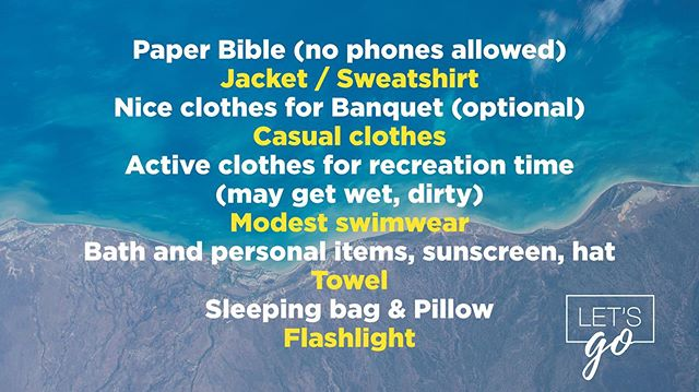Packing list for SoCal Teen Camp