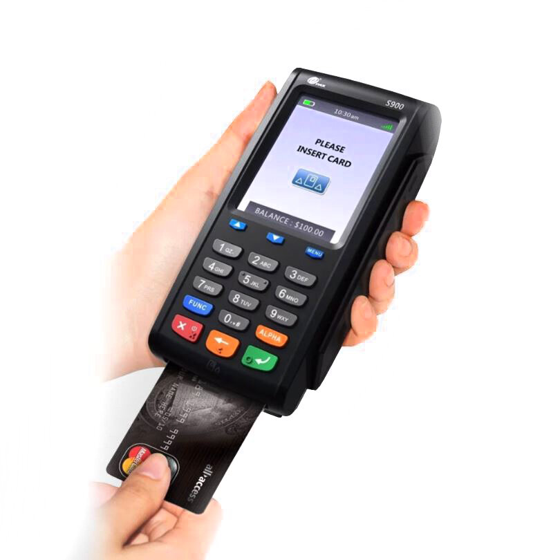 Mobile - Wifi + GPRS - Our PAXS900 mobile card machine delivers ultimate freedom for remote payment processing. USing 3G/4G cellular data it is perfect for serving customers outdoors.Ideal for business type : Taxis/Tradesman/Mobile business
