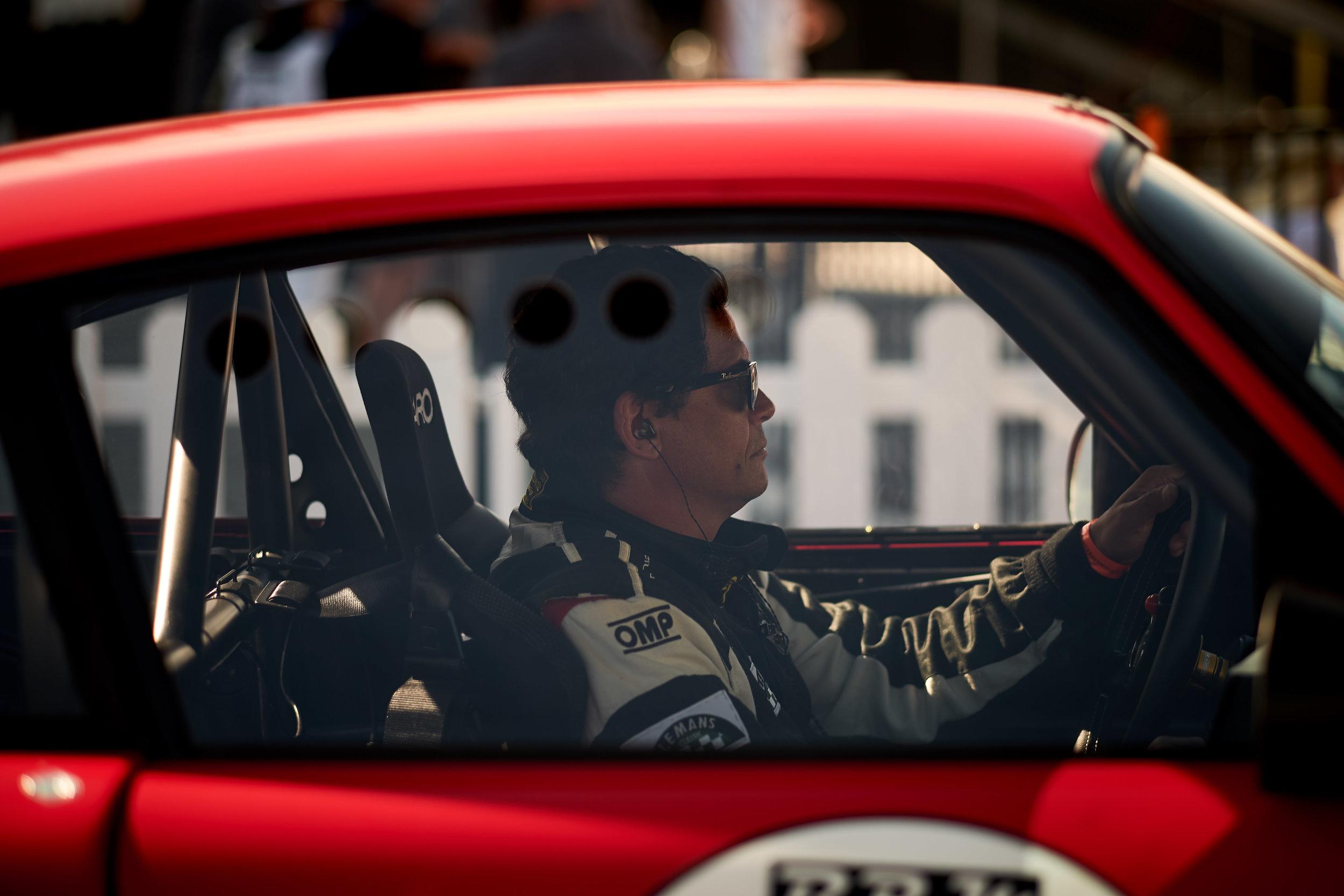 Martin Lauber focused, pre-grid in his 1975 Porsche Carrera RSR