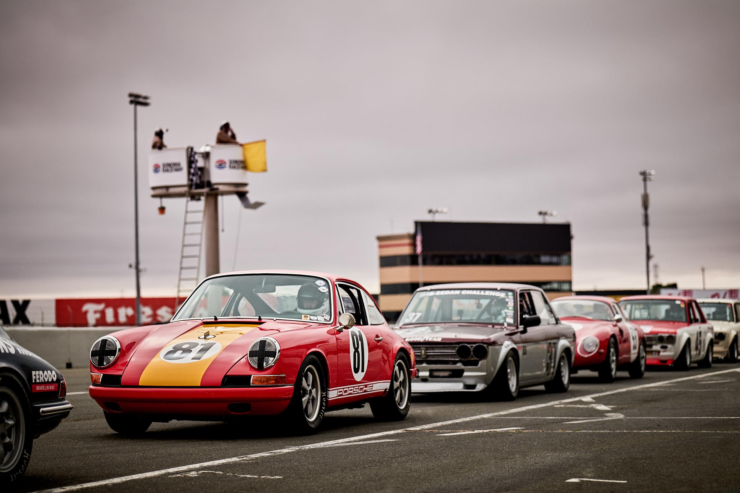 Porsche (exact make/model unknown) #81  1969 Datsun 510 / Mark Nettesheim (#137)