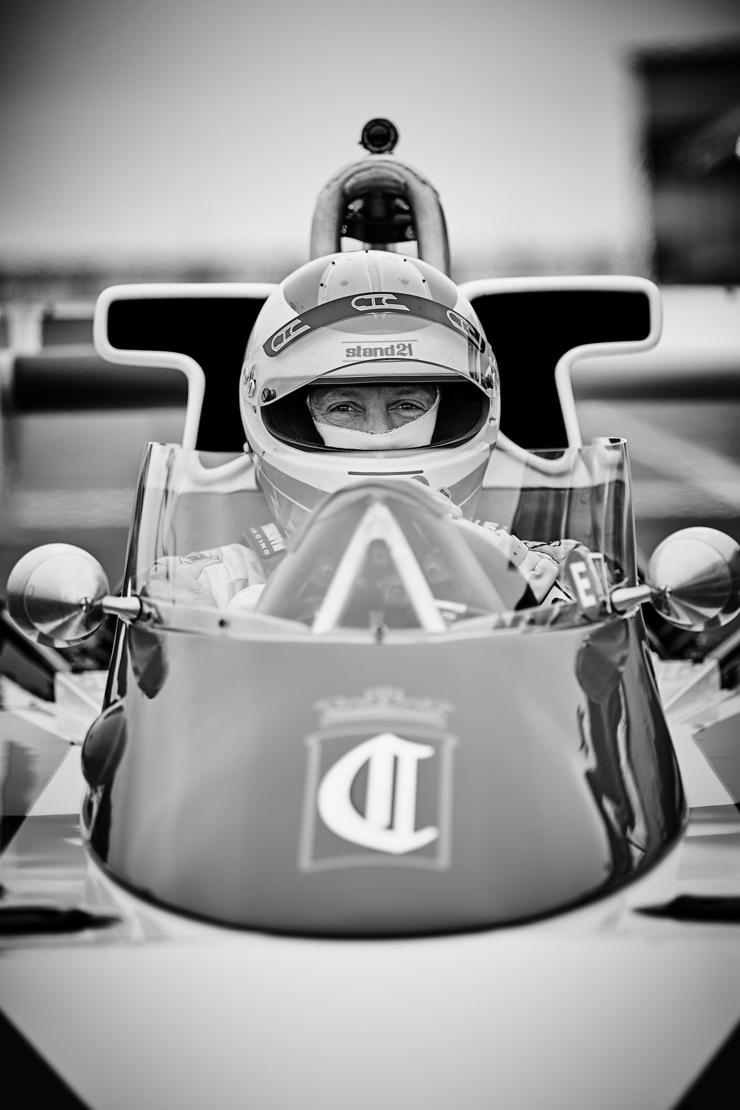 Danny Baker sitting pretty on the grid in a 1976 McLaren M23