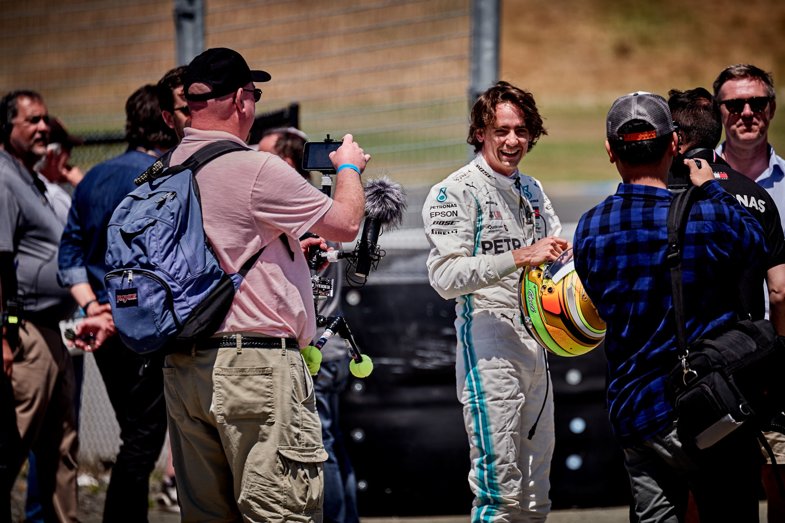 Esteban Gutierrez, Official Development Driver for Mercedes-AMG Petronas Motorsport Formula I team enjoying a moment after a demonstration of five-times World Champion Driver Lewis Hamilton's 2016 Mercedes W07 Hybrid Formula I car.