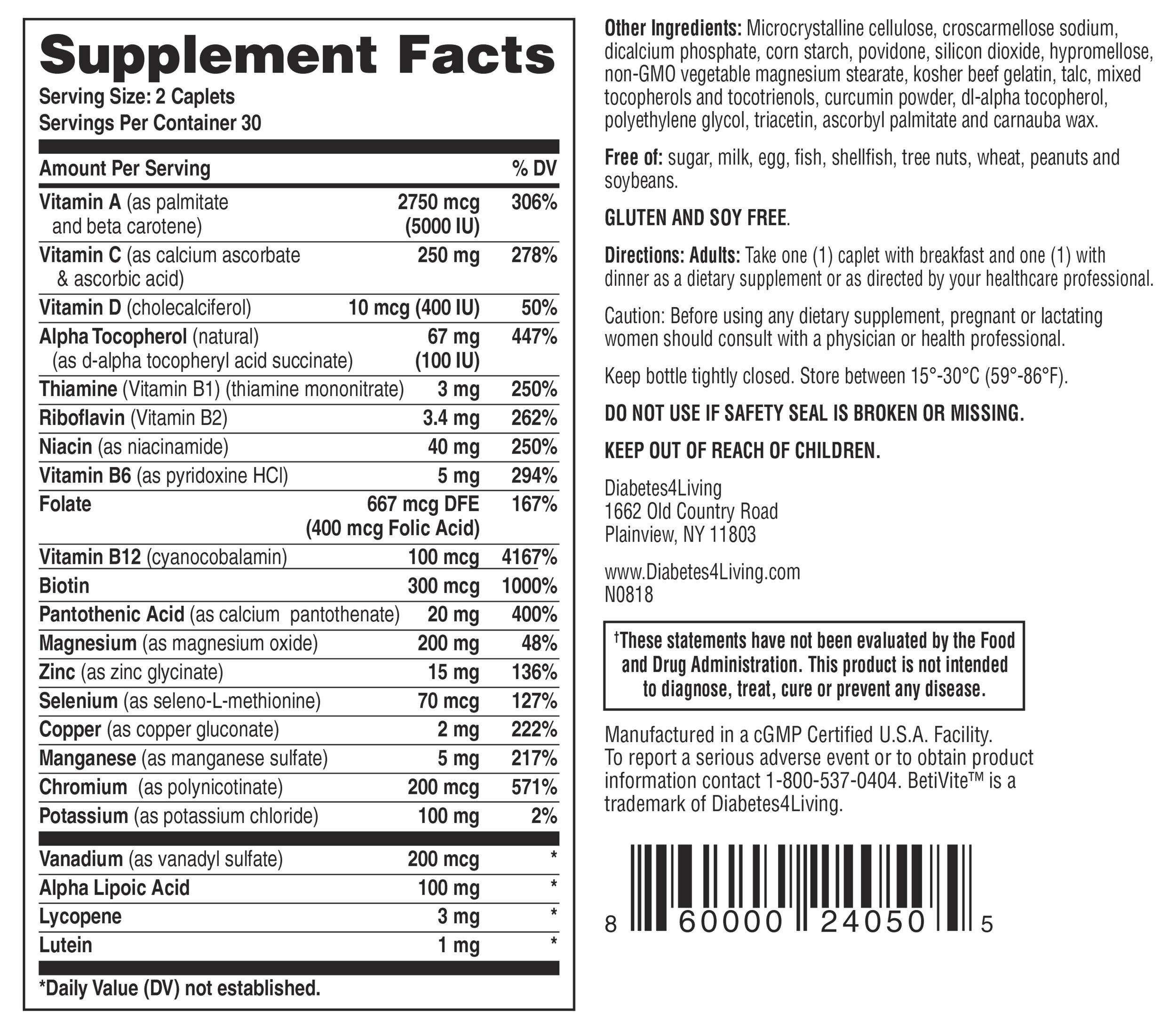 BetiVite Multi-Vitamin Supplement Facts