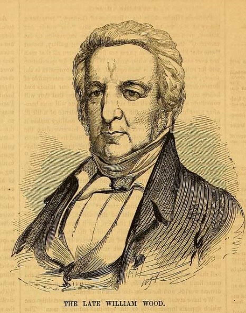 """- Engraving """"The Late William Wood, Esq."""" Ballou's Pictorial Drawing Room Companion, (Boston, MA). Vol. XIII, no. 12, September 19, 1857, p 188."""