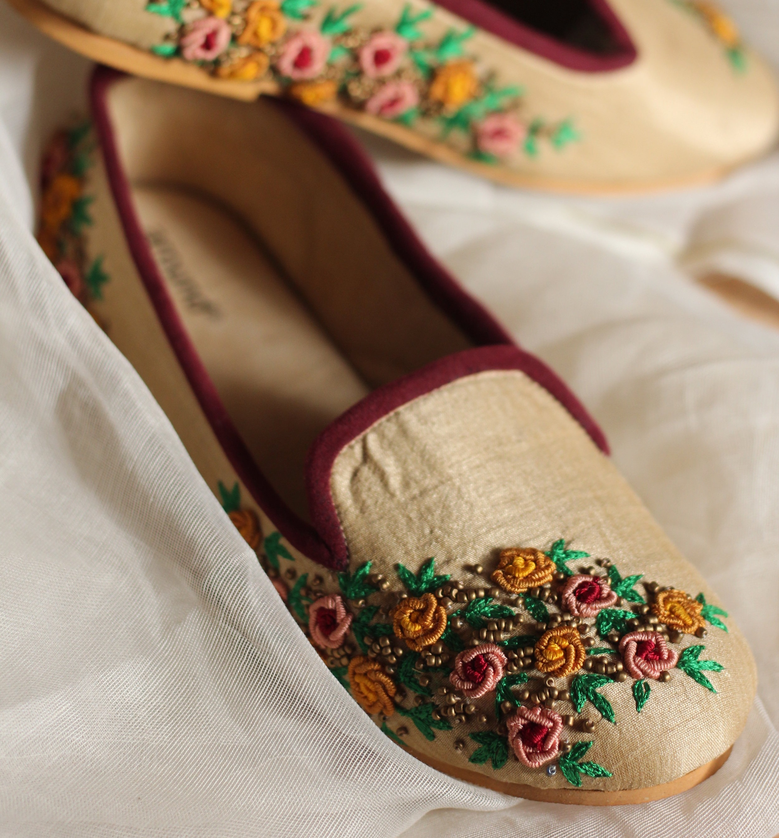 GARDEN OF ROSES - The French couple represents the epitome of romance and these loafers with french knot roses will set pace for the journey you are about to begin!