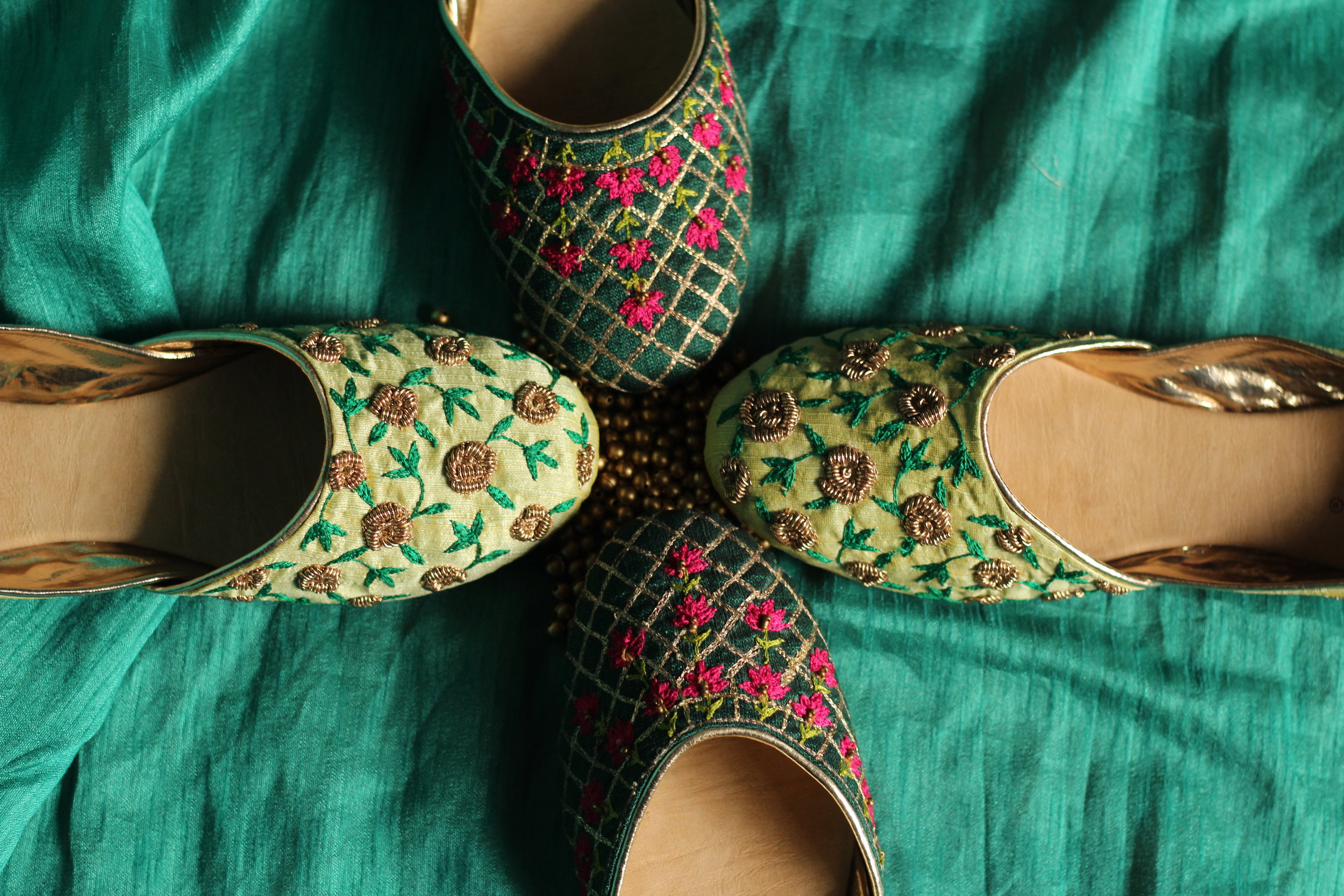 Juttis - These Indian classics are always in vogue and we have all kinds of embroidery in this style, with zardozi, resham and bead work in geometric and floral motifs.