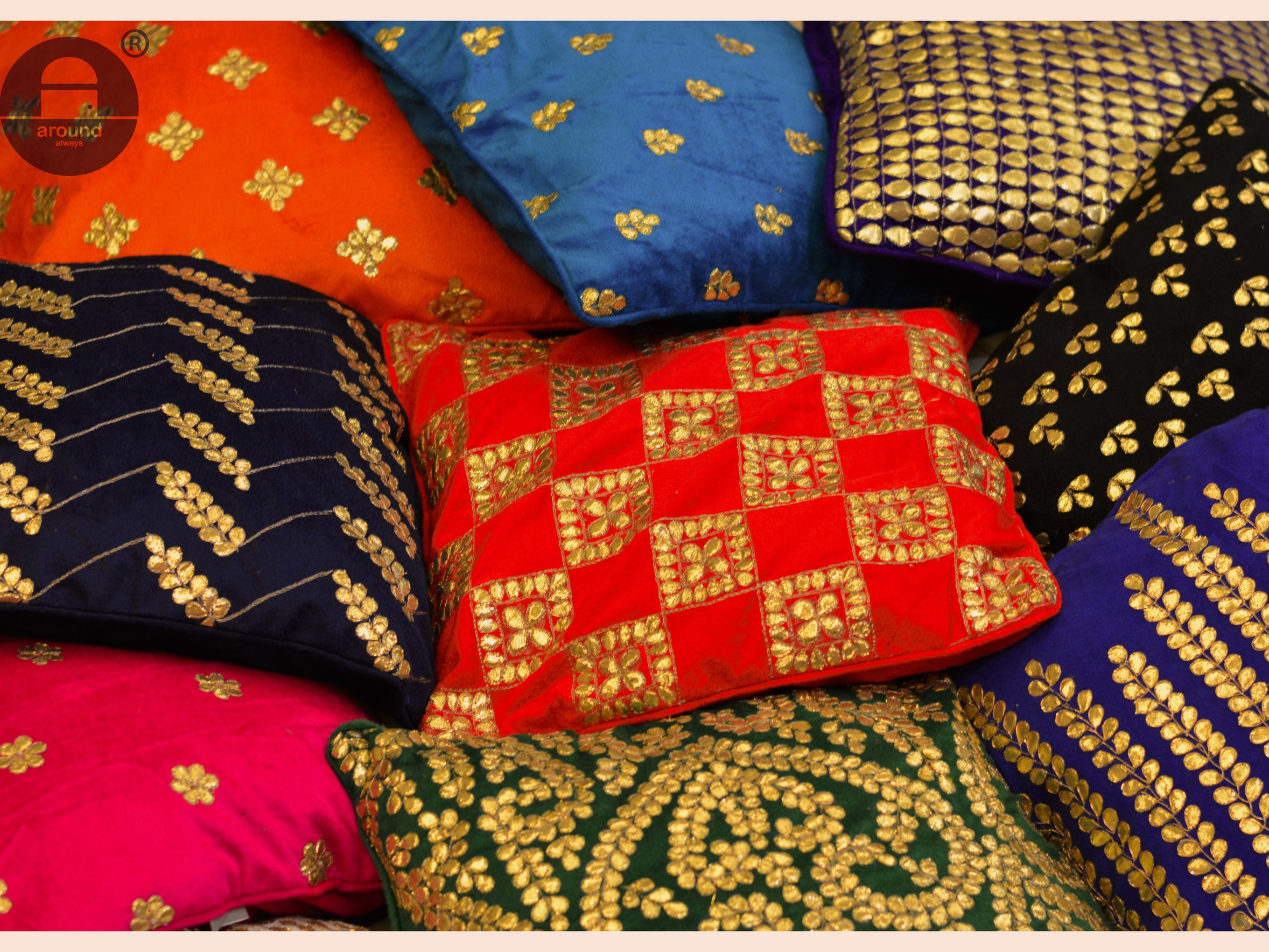 Patti - Embroidered with utmost care using age told Gota Pati technique from Rajsthan, India, these cushions draw inspiration from mother nature,