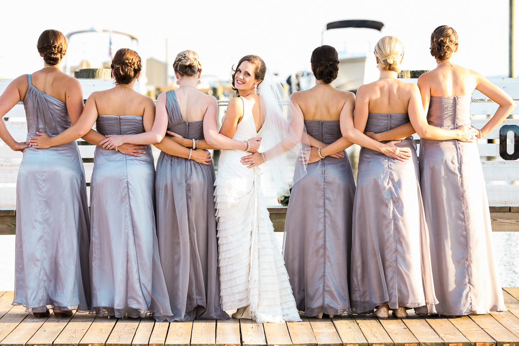 Bride & bridesmaids at harbor